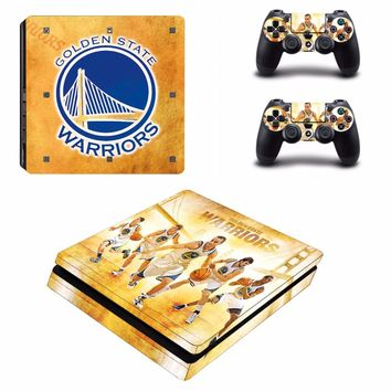 Golden State Warriors Vinyl Decal PS4 Slim Skin Stickers Wrap for Sony PlayStation 4 Slim Console and 2 Controllers Skins