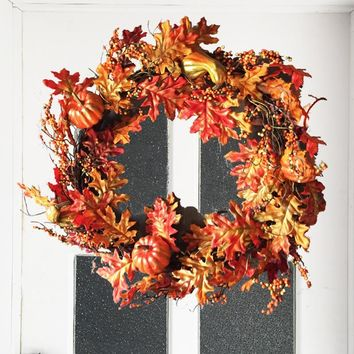 22 inch Autumn Harvest Fall Pumpkin and Leaves Wall Door Wreath Rattan Twig for Thanksgiving Decoration