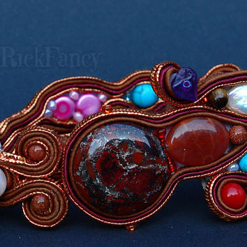 Bohemian jewelry, soutache bracelet, mineral jewelry, hand crafted jewelry, gift for her, gift for women, Jasper,  soutache jewelry