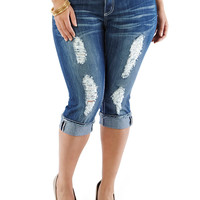 Plus-Size Denim Capris - Rainbow