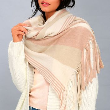 Kolby Blush Pink Striped Scarf