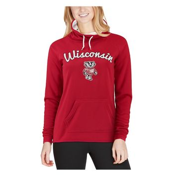 Wisconsin Badgers Women's Funnel Neck Pullover Sweatshirt - Red