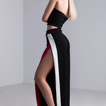 AKIRA Thigh High Slit Wide Leg Pants in Black