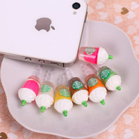 6pc Starbucks Frappuccino Cup 3.5mm Anti-dust Plug EAR CAP for iPhone 4S 5 + pen