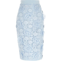 River Island Womens Blue flower and lace pencil skirt