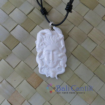 Lizard and Women Spirit Bone Pendant, Bali Bone Carving, unique handmade jewelry from Bali