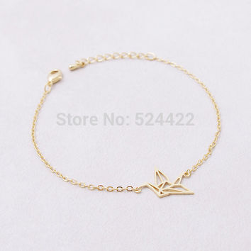Link Chain Animal Origami Crane Bracelet for Women Fashion Animal Bird Chram Bracelets Party Gift 2016