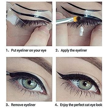Eyeliner Stencil Cat Eye Card Eyeliner Stencil Models Cat Eye Makeup Template Eyeliner Eye Makeup Card Eye Shadow Model Liquid Eye Liner Eyebrow Makeup Template 0.35 Fluid Ounce 2 pairs(4 Pieces)