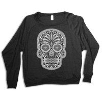 Womens SUGAR SKULL Tri-Blend Pullover  sweatshirt - american apparel S M L (heather black)