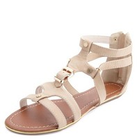 Belted Strappy Gold-Trimmed Gladiator Sandals
