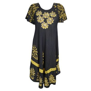 Mogul Fully Fab Flare Sundress Floral Batik Embroidered Cap Sleeves Rayon Beach Bikini Cover Up Resort Wear Casual Umbrella Dress For Womens - Walmart.com