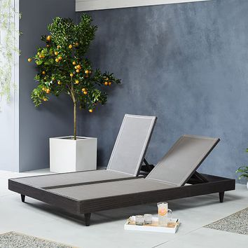 Portside Textilene Chaise Double Lounger - Weathered Café