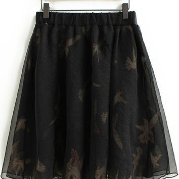 Elastic Waist Bird Print Chiffon A-Line Pleated Mini Skirt
