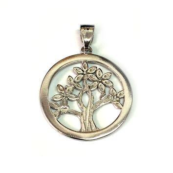Sterling Silver Rhodium Plated Tree Of Life Pendant