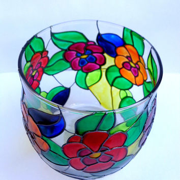 Candle holder / vase. Stained glass