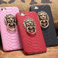 Back Cover Case for iPhone 6 6s 4.7/Plus 5.5/5 5S Lion Head Metal Ring Kickstand