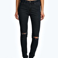 Mia Mid Rise Split Knee Supersoft Skinny Jeans