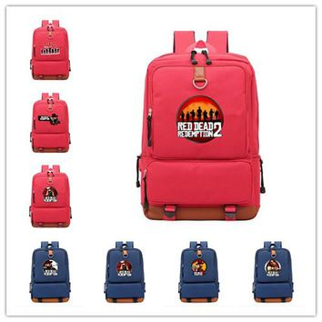 Hot game Red Dead: Redemption  mochila red and blue Backpack for teenagers Darwin School shoulder bag travelling laptop bagpack