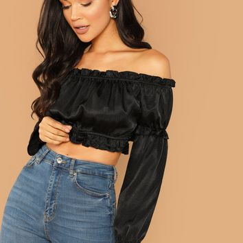 Ruffle Off The Shoulder Long Sleeve Crop Top