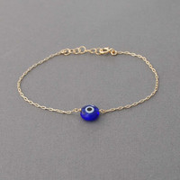 Blue Evil Eye Bracelet available in gold and silver