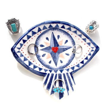 Folk Style Compass Eye Handmade Ceramic Jewellery Dish/Spoon Rest/Soap Dish/Tea Bag Holder -Keepsake - FREE Heart Shaped Guest Soap.