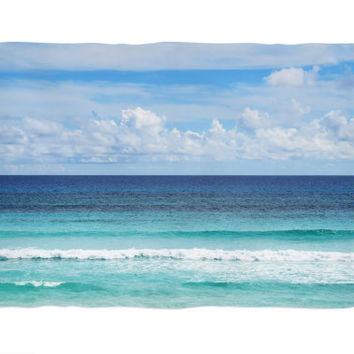 Playa Bonita - Fleece Blanket, Ocean Blue Ombre Style Coral Fleece Throw, Beach Surf Style Home Decor Interior Accent. In Small Medium Large
