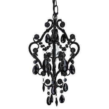 1 Light Mini Crystal-Beaded Nursery Chandelier (Black)