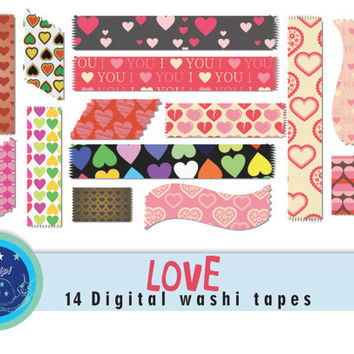 Love digital washi tape, 'love' 14 heart clipart, valentines printable washi tape