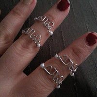 Custom Sorority Greek Letters Wire Ring with Optional Pearl or Bead Colors