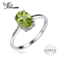 JewelryPalace Oval 1.4ct Natural Green Peridot Birthstone Solitaire Ring Genuine 925 Sterling Silver Women Engagement Jewelry