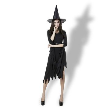 Women Sexy Witch Cosply Costumes Witch Black Irregular Peplum Dress Women Halloween Costumes  Victorian Period Costumes 3pcs Set