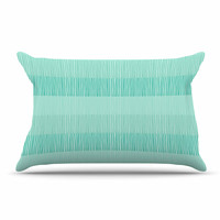 """Holly Helgeson """"Mod Grass"""" Teal Lines Pillow Sham"""
