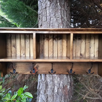 Rustic Coat Rack With Storage Shelf Cubby