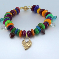 Colorful Shell Bead Bracelet with Glass Heart Charms and Bronze Cross Hatched Heart Charm. Happy Color. Stylish.