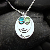 Stacked Mother's Necklace - Oval - 2 Names and Birthstones
