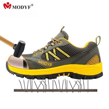 Modyf men steel toe cap work safety shoes casual mesh breathable outdoor boots punctur