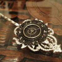Gothic Steampunk Filigree Hair Piece in Silver and Black by punqd