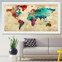 Push Pin Travel World Map, Push Pin Travel Map, Watercolor World Map Print, Push pin world map, pushpin map, Wall Art, world map poster-x302