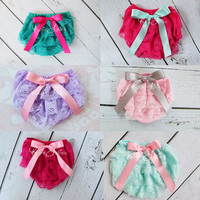 Lace Diaper Cover Many Colors Satin bow bloomers by KutieTuties