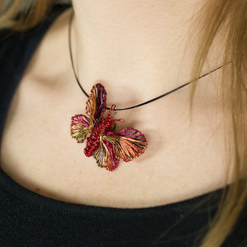 Red Butterfly necklace Wire butterfly jewelry Statement necklace pendant Birthday gift for her Boho necklace Rainbow jewelry Art to wear