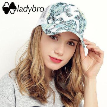 Ladybro Brand Women Hat Cap Female Casual Lace Net Cap Trucker Hat Snapback Female Mesh Hat Summer Flower Black Cap Bone