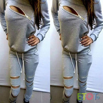 Women Tracksuit Hoodies Sweatshirt Pants Sets Sport Wear Zipper Casual Suit = 1931581892