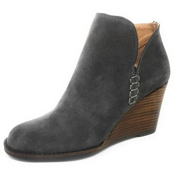 Lucky Brand Yimme Periscope Oiled Suede Wedged Booties
