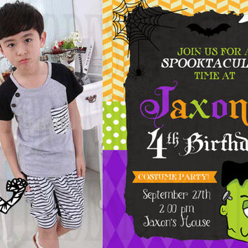 Halloween frankenstein mummy Birthday Invitation - Digital File