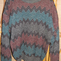 Vintage 80s Mens Cosby Sweater Chevron Stripe Design Tribal Apparel Workshop Size XL