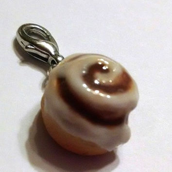 Cinnamon Roll Charm with Lobster Clasp, Polymer Clay Charms, Food Charms