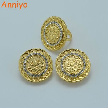 Anniyo Arab Coin Jewelry Set Earring Ring Gold Color Turks Coins Africa Wedding/Middle East/Iran/Israel/Turkey/Egypt #007606