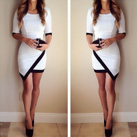 Round Neck Short Sleeve Vest Dress