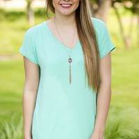 KLR Perfect Piko V-Neck - Seafoam | Tops | Kiki LaRue Boutique