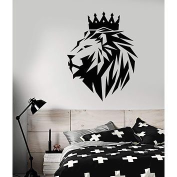 Viny Wall Decal Abstract Polyhedron African Lion King Crown Animal Cat Stickers (3064ig)